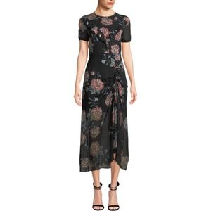 Pinko Floral Ruched Midi Dress